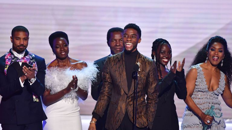 Chadwick Boseman and the Black Panther cast on stage at the SAG awards