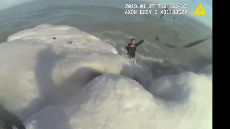 Man rescued after jumping in Icy lake