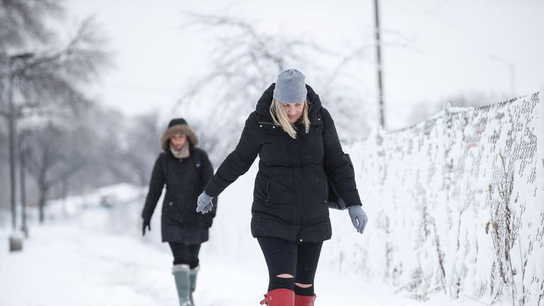 Chicago is forecast to hit lows of -29C on Wednesday