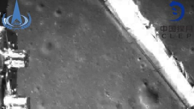 This image of the dark side of the moon is taken by the camera after the soft landing on the back of the Moon 4 detector. Pic: China National Space Administration
