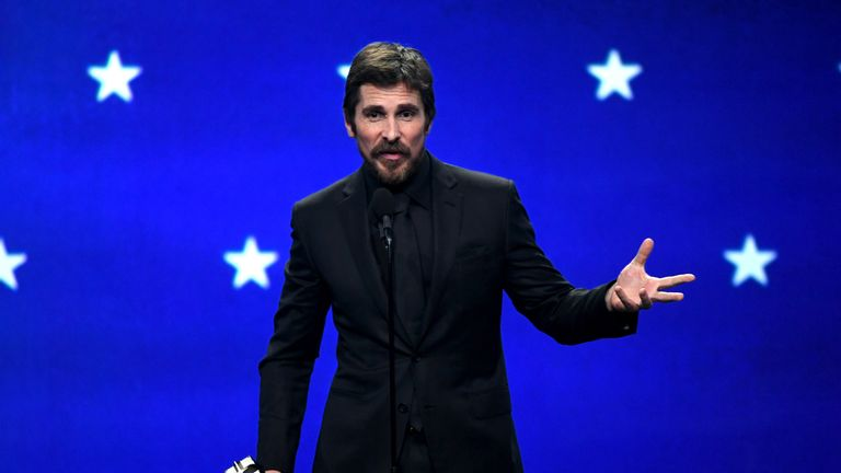 Christian Bale speaks on stage during the 24th annual Critics' Choice Awards at Barker Hangar on January 13, 2019 in Santa Monica, California.