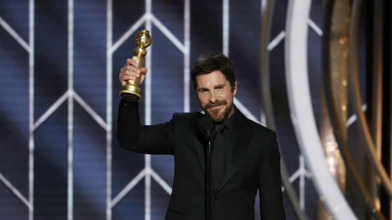 Christian Bale, star of Vice, at the Golden Globes