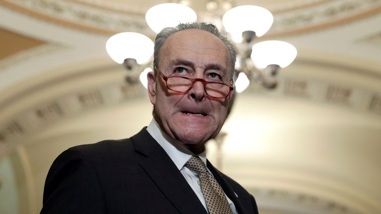Chuck Schumer branded Mr Trump's proposal 'hostage-taking'