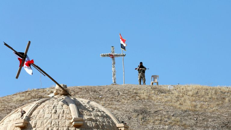 the church of Saint Barbara after it was recaptured from Islamic State in Qaragosh