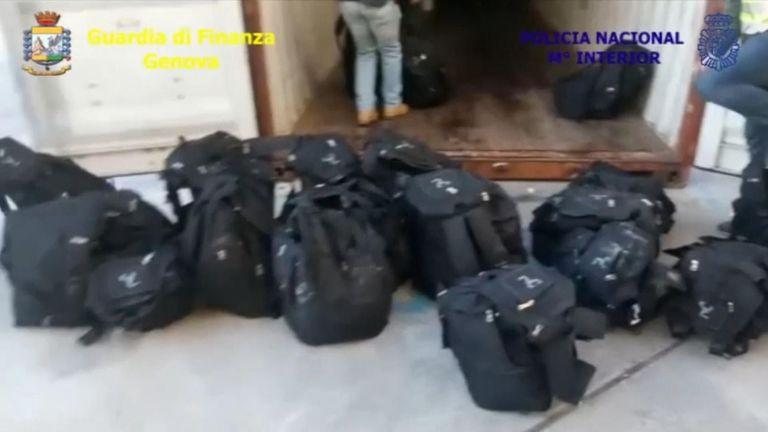The drugs were hidden in large duffle bags