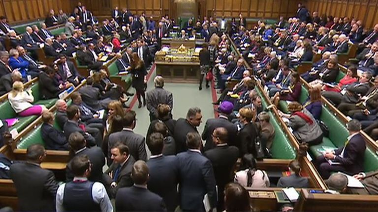 MPs gather in the Commons ahead of the announcement of the result of the Grieve amendment