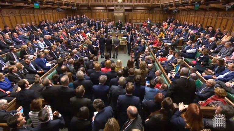 MPs in the House of Commons after they rejected Labour's motion of no confidence in Theresa May's Government by 325 votes to 306