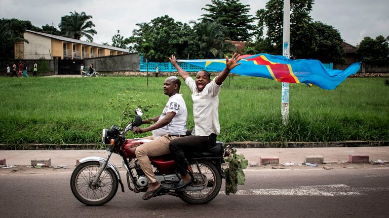 Supporters of Felix Tshisekedi celebrated in the streets of the capital, Kinshasa