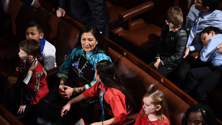Rep. Deb Haaland (D-NM) before the swearing in ceremony