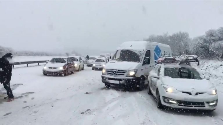 Police say around 100 cars are stuck on the A30 near Temple in Cornwall. Pic: @mrsafox1