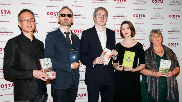 Bart van Es, JO Morgan, Stuart Turton, Sally Rooney and Hilary McKay attend the 2019 Costa Book Awards
