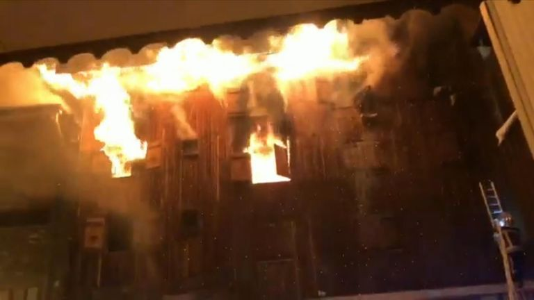 The fire broke out in a building housing seasonal workers. Pic: Facebook/Yarik Zanuda