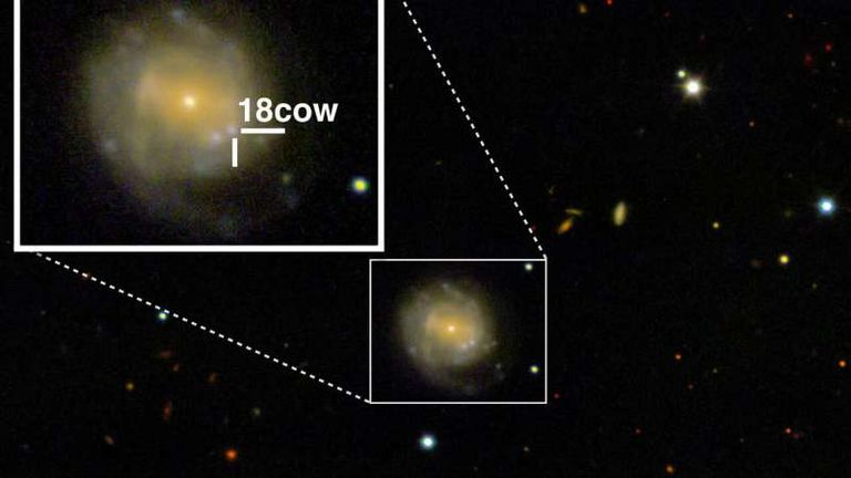 A look at The Cow (approximately 80 days after explosion) from the W.M. Keck Observatory in Maunakea, Hawaii. The Cow is nestled in the CGCG 137-068 galaxy, 200 million light years from Earth. Credit: Raffaella Margutti/Northwestern University