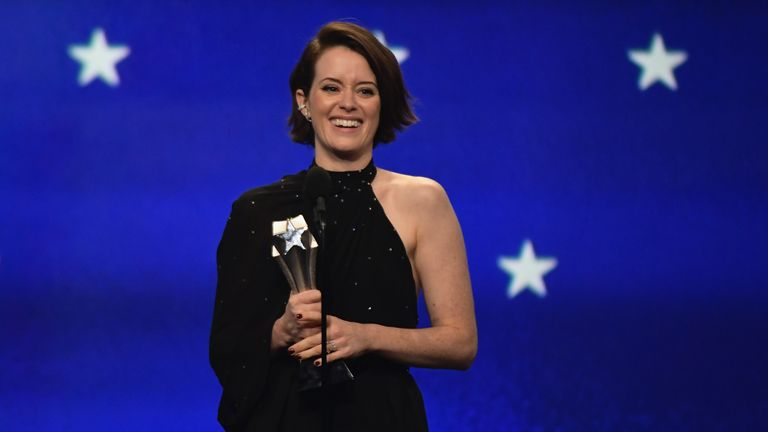 Claire Foy speaks onstage during the 24th annual Critics' Choice Awards at Barker Hangar on January 13, 2019 in Santa Monica, California