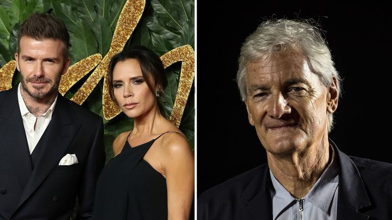 David and Victoria Beckham, and James Dyson