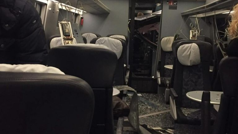 Inside a passenger train after an accident on Denmark's Great Belt Bridge