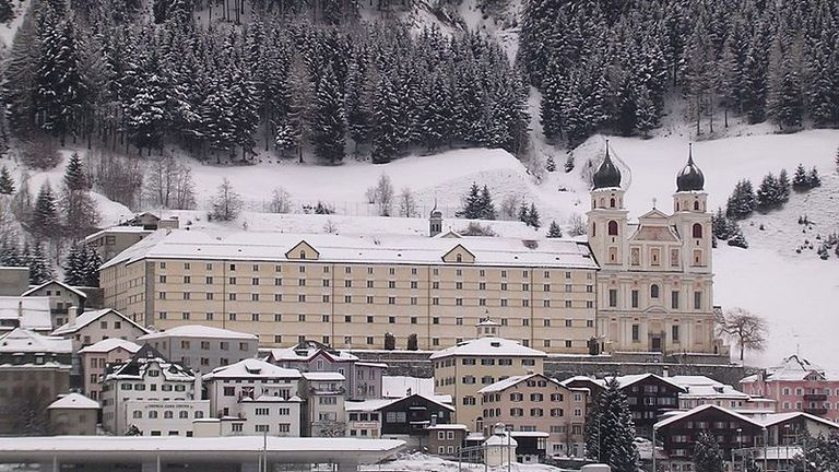 Disentis Abbey in Swiss Alps. Pic: Ikiwaner