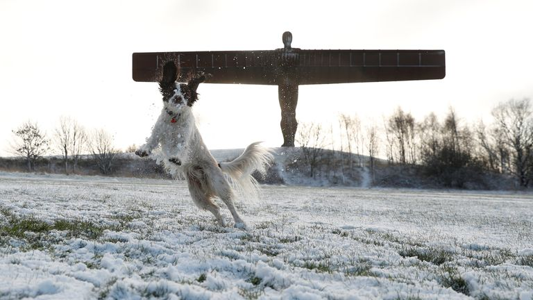 Snow has already fallen in northern areas like Gateshead towards the end of last week