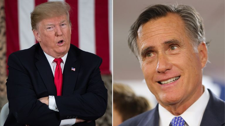 Donald Trump and Mitt Romney have clashed in a war of words over policy and character