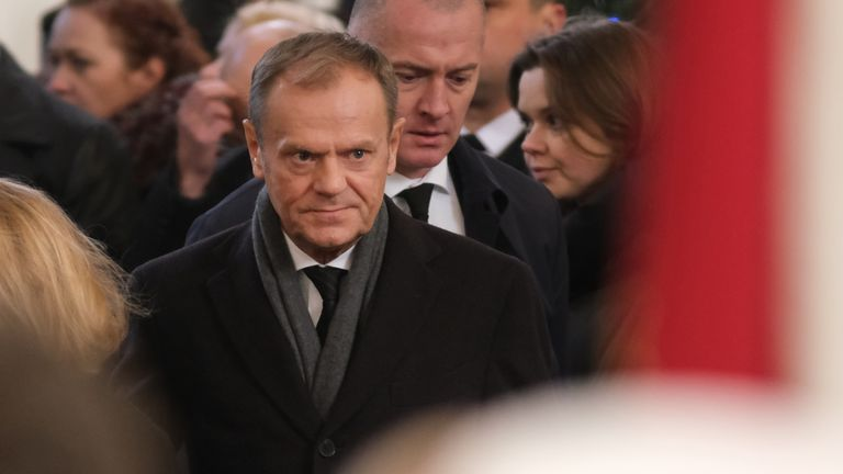 Donald Tusk was among those who attended the funeral on Saturday