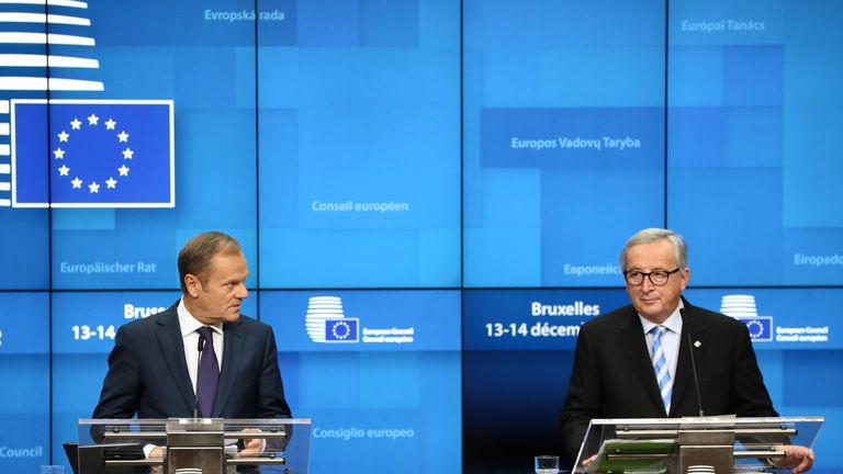 European Council President Donald Tusk, left, and European Commission President Jean-Claude Juncker
