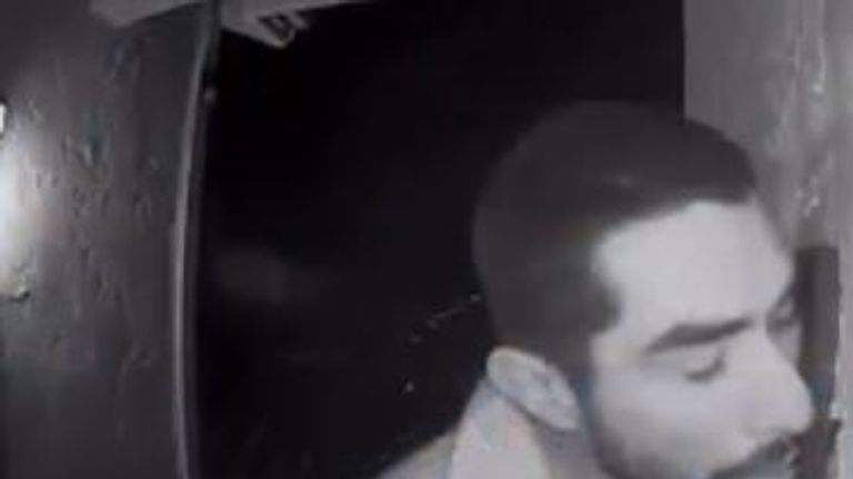 Roberto Daniel Arroyo was caught on CCTV licking a doorbell for three hours. Pic: ring.com/Sylvia Dungan