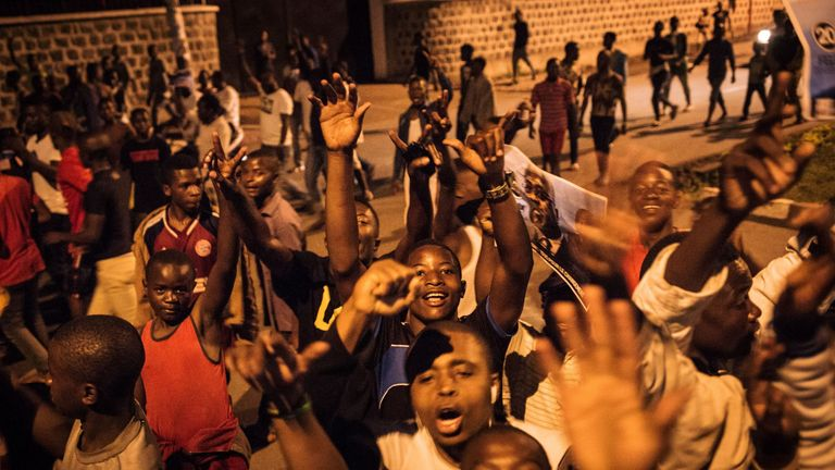 Young people celebrated Mr  Tshisekedi's win in Goma in the county's northeast