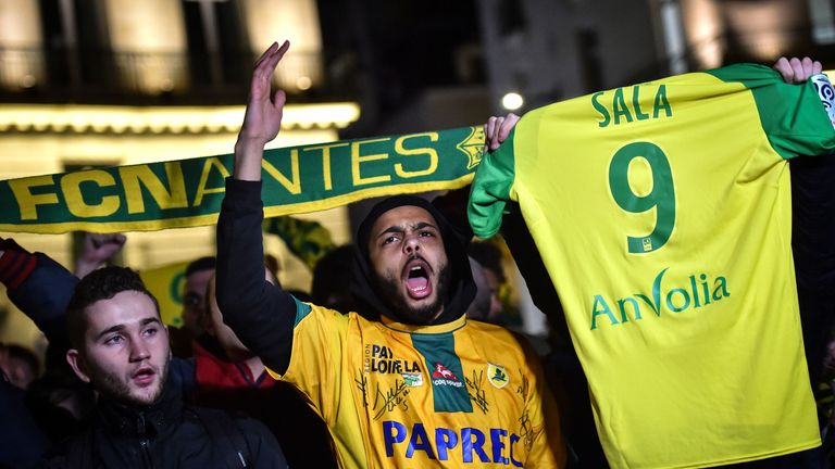 Nantes supporters show support for Emiliano Sala