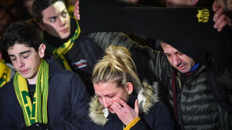 Nantes supporters in tears over Emiliano Sala