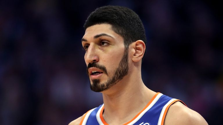 Enes Kanter #00 of the New York Knicks plays the Denver Nuggets at the Pepsi Center on January 01, 2019 in Denver, Colorado