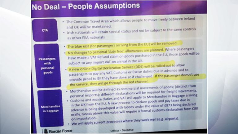 Border Force 'No Deal' assumptions, leaked to Sky News