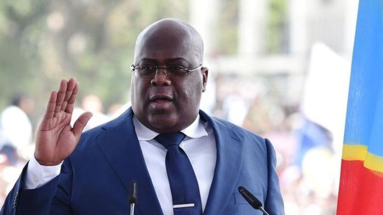 Mr Tshisekedi was overcome at the ceremony
