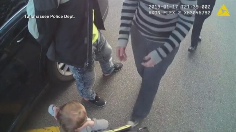 Police body camera footage showed the girl being picked up by her mother