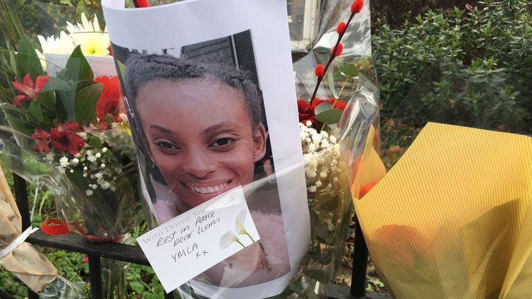 Flowers have been left to pay tribute to the woman