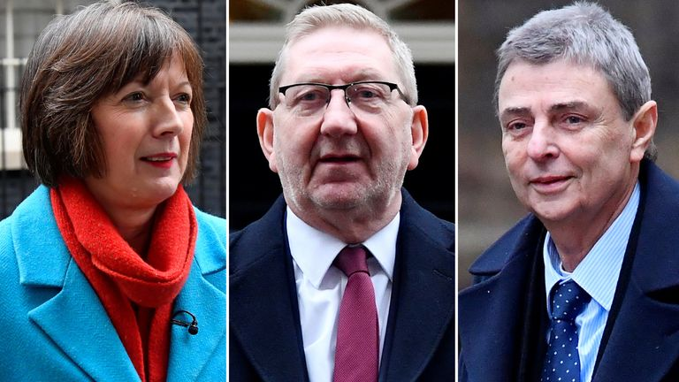 Union leaders Frances O'Grady, Len McCluskey and Dave Prentis