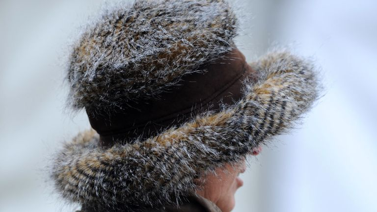 A fur hat during day three of the Badminton Horse Trials, Badminton