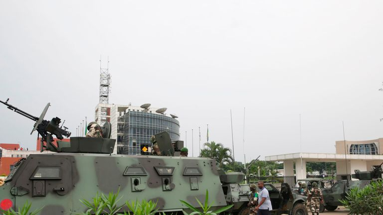 Soldiers outside Gabon state broadcaster RTG