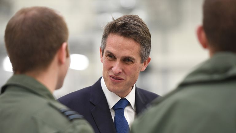 Defence Secretary Gavin Williamson during his visit to visit RAF Marham in Norfolk