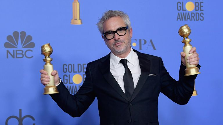 Alfonso Cuaron in the press room during the 76th Annual Golden Globe Awards at The Beverly Hilton Hotel on January 6, 2019 in Beverly Hills, California.