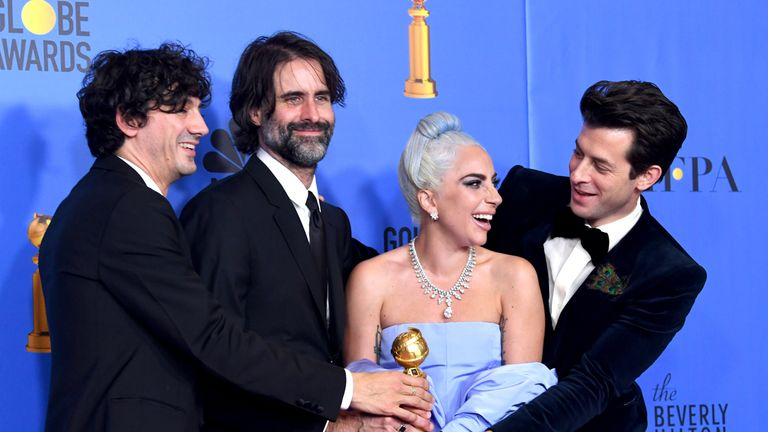 A Star Is Born - Shallow, best song: Lady Gaga and Mark Ronson pose at the 76th Annual Golden Globe Awards at The Beverly Hilton Hotel on January 6, 2019 in Beverly Hills, California