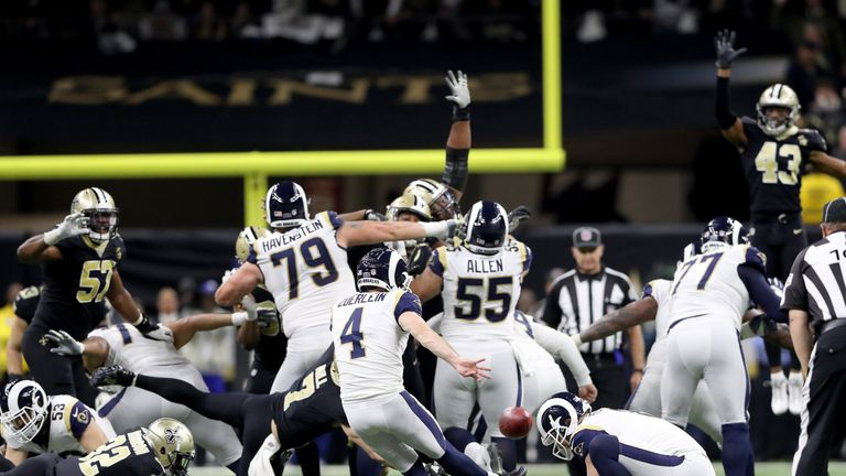 NEW ORLEANS, LOUISIANA - JANUARY 20: Greg Zuerlein #4 of the Los Angeles Rams celebrates after kicking the game winning field goal in overtime against the New Orleans Saints in the NFC Championship game at the Mercedes-Benz Superdome on January 20, 2019 in New Orleans, Louisiana. The Los Angeles Rams defeated the New Orleans Saints with a score of 26 to 23. (Photo by Streeter Lecka/Getty Images)