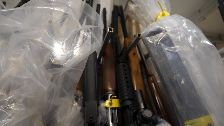 Guns are stored in the unit before being taken to a local incinerator