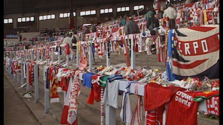 The sea of flowers and scarves at Anfield. The ex-South Yorkshire Police chief superintendent David Duckenfield is accused of manslaughter by gross negligence of 95 people who died in the 1989 Hillsborough disaster.