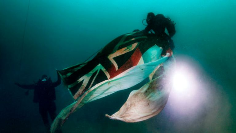 An ensign is flown at the wreck site every year. Pic: Royal Navy