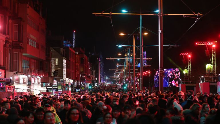 Crowds on Princess Street during the Hogmanay New Year celebrations in Edinburgh.