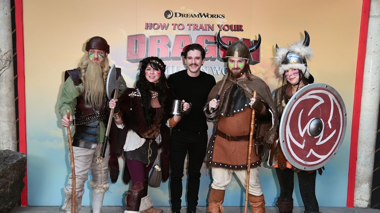 Game Of Thrones actor Kit Harington (centre) stars in How To Train Your Dragon: The Hidden World