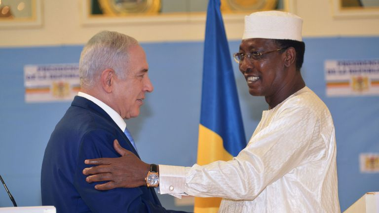 Chadian President Idriss Deby Itno welcomed Israeli Prime Minister Benjamin Netanyahu on Sunday