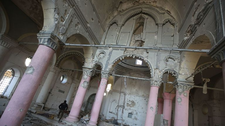The inside of the heavily damaged Syriac Orthodox Al Tahira church in Mosul