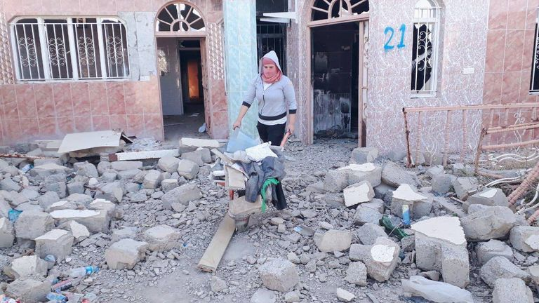 Women working on a Germany-funded project to repair homes in Sinjar. Pic: UN Habitat