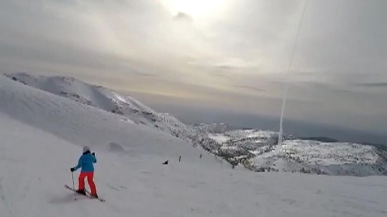 An Israeli skier filmed an interception by Israel's Iron Dome missile defence system against Iranian rocket fired at Israel.